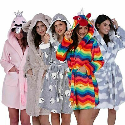 Womans Hooded Robes | Unicorn Bath Robe | Novelty 3D Animal Dressing Gown | SALE