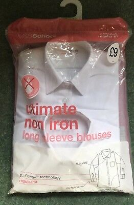 Marks and Spencer Girls White School Blouses Age 2-3 Years BNWT 2 Pack RRP £9