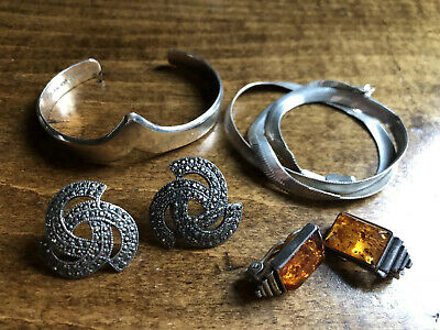 Lot of STERLING SILVER Jewelry for Scrap / Use, Marcasite, Amber -  47 grams