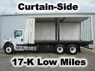 M2 106 L9 Cummins 350-Hp 22Ft Curtain Soft Side Cube Delivery Box Truck 17-K Mi