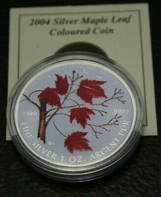 2004 $5 Fine Silver Maple leaf Coloured