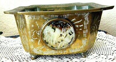 1930's CHINESE FOOTED BRASS BOWL WITH JADE MEDALLION SUPER & RARE