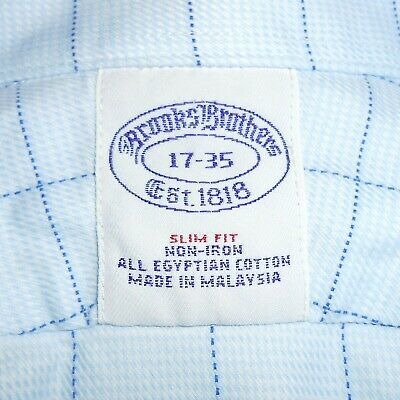 17-35 Brooks Brothers SLIM FIT Non-Iron French Cuff Dress Shirt 100% Cotton Blue