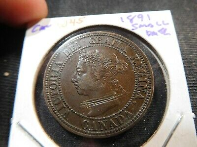 W45 Canada 1891 Small Date Large Cent AU, Obverse Scratches