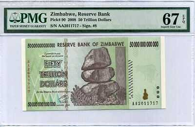Zimbabwe 50 Trillion Dollars 2008 Aa P 90 Superb Gem Unc Pmg 67 Epq