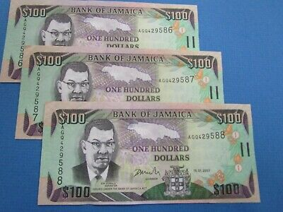 2007  3 x $100 Consecutive Jamaica Bank Note. Crisp bright & colorful  UNC