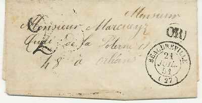 """FRANCE 1851 LADY COVER postmarked """"25"""", """"OR"""" + """"BEAUDEVRILLE / (27)"""" RR!!"""