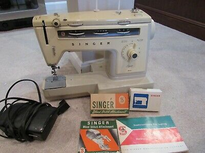 VINTAGE SINGER MODEL 185k3 SEWING MACHINE with Pedal, Attachments and Directions