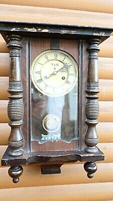 Antique Mahogany cased  Wall Clock  Y & N  (makers)  to Clock Face