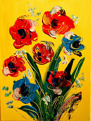 FLOWERS ON YELLOW by Mark Kazav  Abstract Modern CANVAS Original Oil Painting