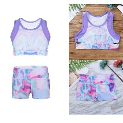Girls Gymnastic Sports Shorts Crop Top Kids Stretchy Bottoms Hot Pants Dancewear