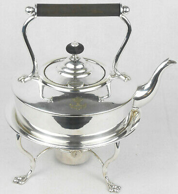 Edwardian Silver Plated Spirit Tea Kettle On Stand With Burner - Crested - H&H