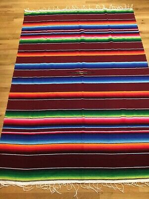 Mexican Saltillo Serape Fringe Throw Blanket Striped 60x86 Tablecloth Rug