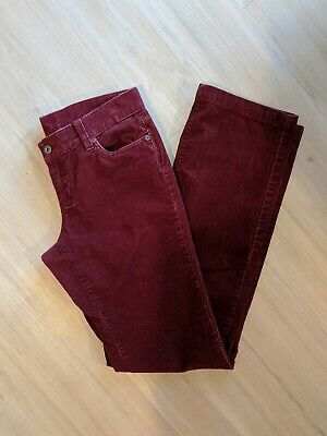 Columbia~Women's 4 Long Dark Red Small Ribbed Corduroy Pants-Midrise Straight