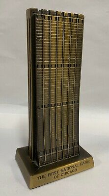 Vtg Banthrico Cast Metal The First National Bank Of Chicago Coin Piggy Bank (A7)