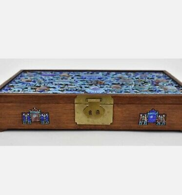 "RARE MAGNIFICENT Antique Qing Chinese scholar box 13"" by 8"" rosewood 红木 enamel"