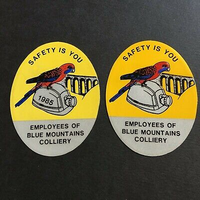 Employees Of Blue Mountains Colliery - 1985 - Mining Sticker Pair (Yellow)