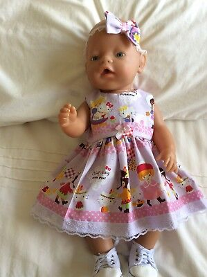 """Doll Clothes to fit 17"""" Baby Born doll ~ Dress & hband  ~ Hello Kitty And Friend"""
