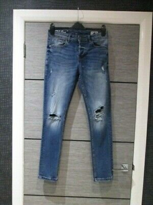 Mens Denim Co Blue Skinny Leg Distressed Jeans W30 X L30 Vgc