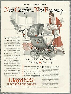 1931 LLOYD BABY CARRIAGE advertisement, Lloyd Loom Products Wicker baby carriage
