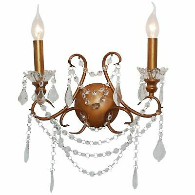 French Vintage Style 2 Branch Cut Glass Chandelier Wall Light  - Antique Gold