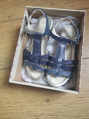 Girls Clark Sandals Size 12f metallic blue wedge