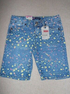 Levis Girls Bermuda Denim Shorts Age 8 Years 24 Inch Waist New With Tags