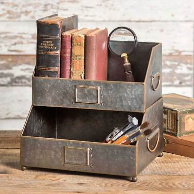 Nameplate Tabletop Desk Caddy in Distressed Tin
