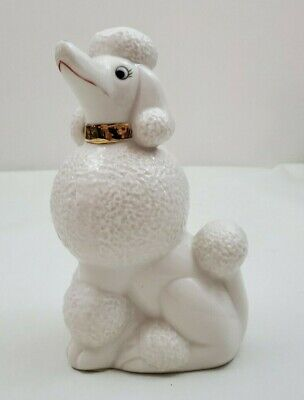 Vintage 1950s Ceramic White French Poodle Figurine formerly Lamp Perfume Warmer