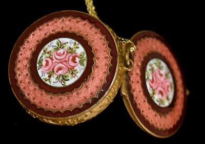 Antique FRENCH Dbl Sided *PINK ENAMEL GUILLOCHE Compact/Locket Pendant Necklace