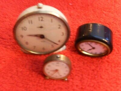3 Very  Old Original Vintage Brass / Metal & Enamel Clocks
