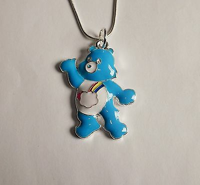 CARE BEAR BASHFUL HEART BEAR unwanted Large Charm NECKLACE + Gift Bag