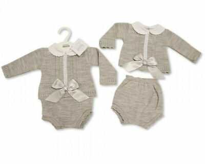 Baby boys girls Spanish style Romany grey knitted 2 piece outfit 3-6 months BNWT