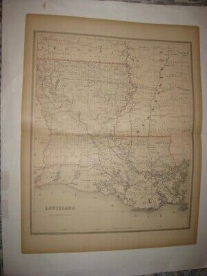 Huge Fine Antique 1884 Louisiana Dated Handcolored Railroad Map New Orleans Rare