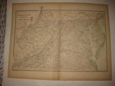 Large Antique 1884 West & Virginia Delaware Maryland Handcolored Railroad Map Nr