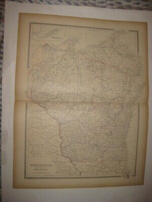 Large Antique 1884 Wisconsin Northern Michigan Dated Handcolored Map Isle Royale