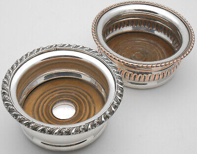 2X Antique Silver Plated Small Wine / Condiment Bottle Coasters