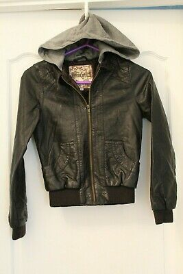 Girls Age 10-11 New Look Generation Brown Jacket With Grey Hood