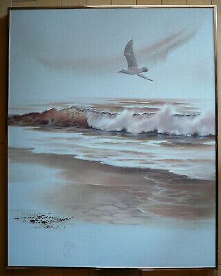 Irene Lumgair, Listed Coastal Seascape Painting Seagull Coast Ocean Vintage Oil
