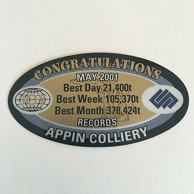 Congratulations Appin Colliery - May 2001 Records - Joy Mining Sticker