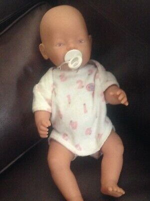 Baby Born Doll Pink Eyes  Comes With Romper Immaculate Condition