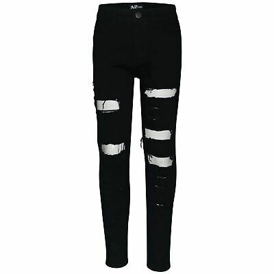 Kids Boys Stretchy Jeans Jet Black Ripped Denim Skinny Bikers Pants Slim Trouser