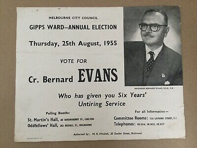 1955 Melbourne City Council ELECTION POSTER Evans LORD MAYOR Gipps Ward History