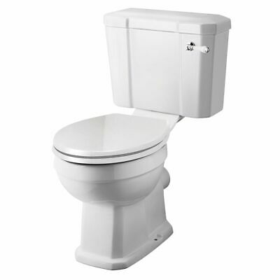 White Traditional Close Coupled Toilet with Cistern & Soft Close Seat