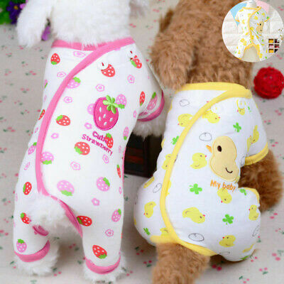 Embroidery Cat Dog Soft Cotton Small Pet Clothes Pajamas Apparel Puppy Jumpsuit