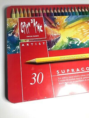 Sealed Caran Dache Swiss Artist Water Colour Painting Pencils Supracolor Soft 30