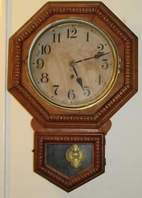 """Waterbury Short Drop """"Schoolhouse"""" Clock, 8 Day Time Only, Oak, 10"""" Arion"""