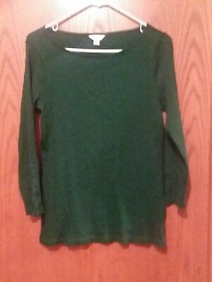 Nautica Womens Green Long Sleeve Shirt Medium New