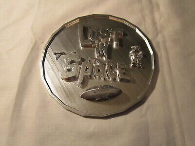 "Lost in Space Mini Plaque (3D Printed, Chrome Painted) 4"" Round"