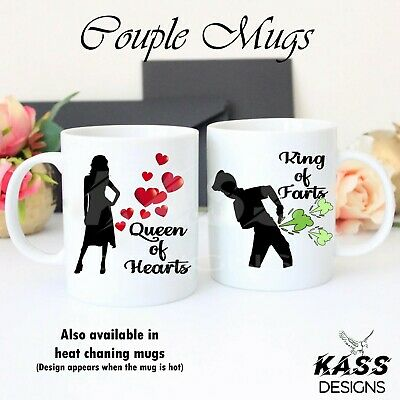Personalised Mugs Farting King Hearts Queen Valentines Day Funny Cup Unique Gift